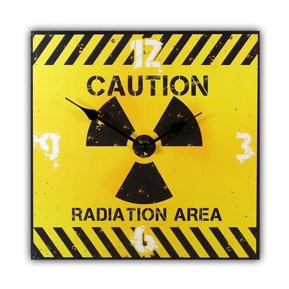 warentisch wanduhr aus mdf holz caution radiation area im modernen design. Black Bedroom Furniture Sets. Home Design Ideas