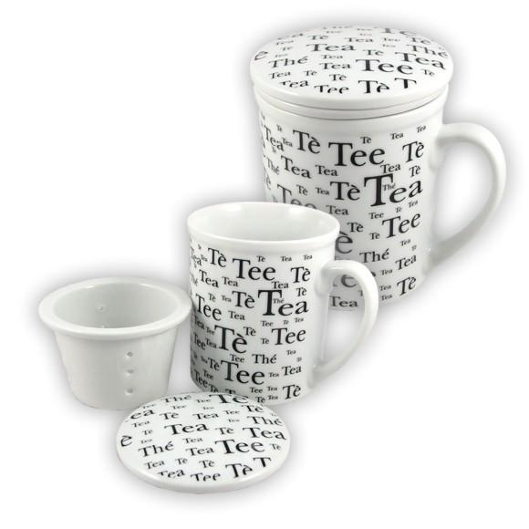 becher tea teetasse tasse f r tee mit deckel und sieb ebay. Black Bedroom Furniture Sets. Home Design Ideas